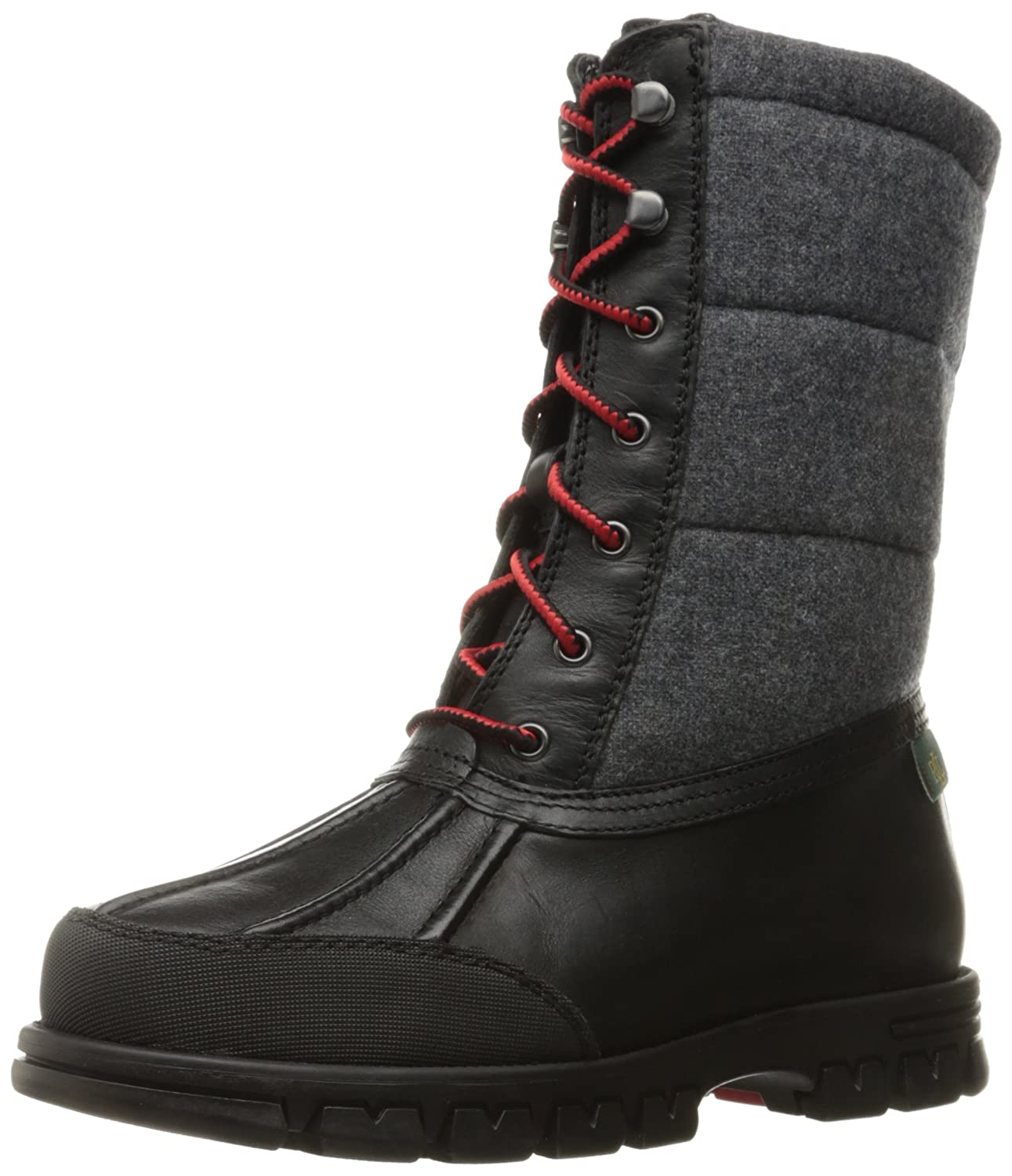 Lauren by Ralph Lauren Women's Quinlyn Snow Boot B01GFJMLP6 9.5 B(M) US|Black/Grey Leather/Flannel