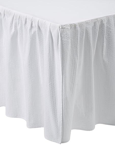 Juego de color blanco cama falda/polvo volantes: Amazon.es: Hogar