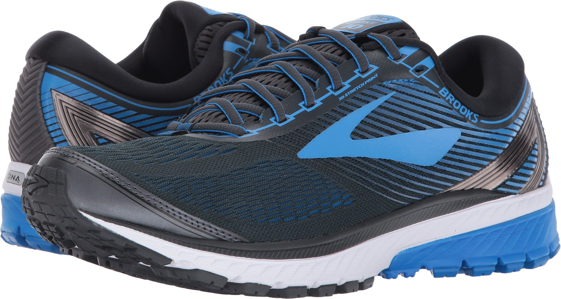 Brooks  Men's Ghost 10 Ebony/Metallic Charcoal/Electric Blue 9.5 D US by Brooks