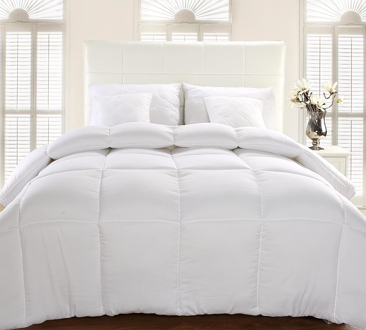 Comforter Duvet Insert White Quilted Down Alternative Box Design Utopia Bedding