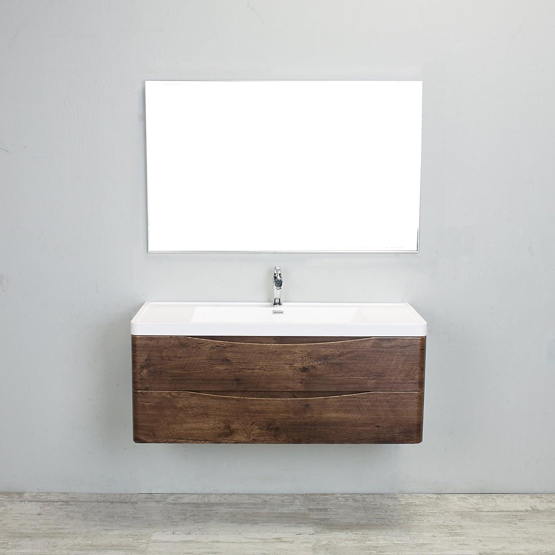 eviva evvn12 ss 48rswd wm smile 48 inch rosewood modern bathroom vanity set with integrated. Black Bedroom Furniture Sets. Home Design Ideas