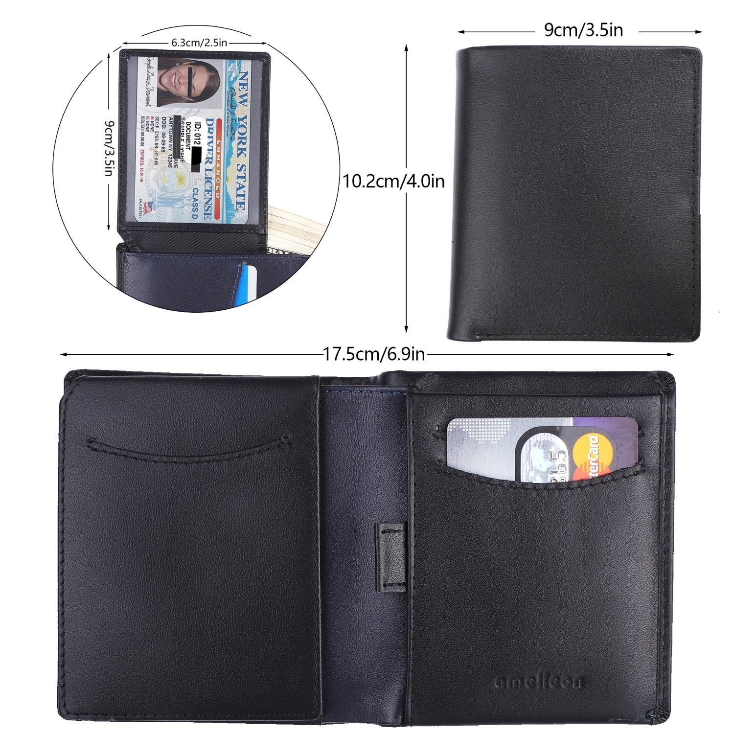 Amelleon Trifold Bifold Genuine Leather RFID Wallets for Men – ID & Photo Window,10 Credit Card Slots,Bill & Coin Pockets-For Work,Travel,Gift&More (Black) by amelleon (Image #2)