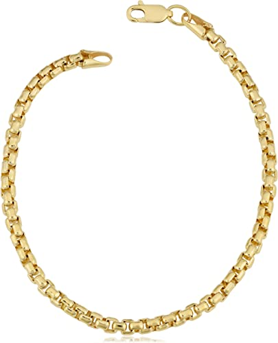 14k Yellow Gold with 1.3mm chain Bracelet  With 6mm Round MultiColor Stones
