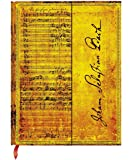 PaperBlanks Bach Cantata Hard Cover Single Ruled Diary Notebook - 18 cm x 23 cm, 114 Pages (Yellow, Black and Brown)