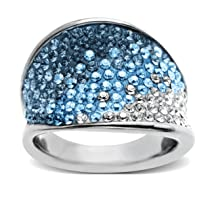 Wave Shape with Swarovski Elements Ring