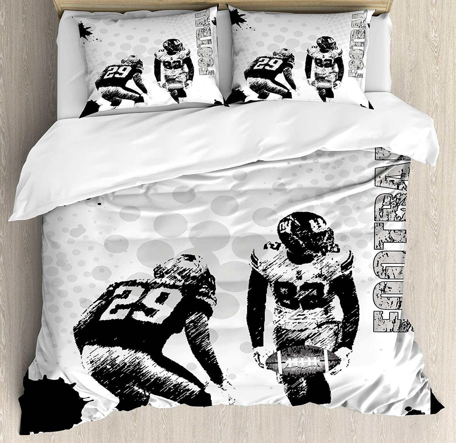 Style 1260 Twin Sports Duvet Cover Set, Grungy American Football Image International Team World Cup Kick Off Play Speed Victory, A Decorative 3 Piece Bedding Set with 2 Pillow Shams, Black White Twin