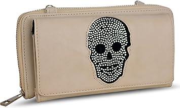 Damen Luxus Totenkopf Strass Geldbörse Geldbeutel Brieftasche Portemonnaie