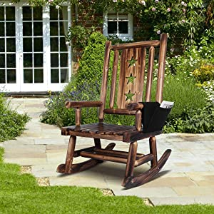 Wooden Rocking Chair for Porch - Outdoor Rustic Log Rocker Chair with Armrest Detachable Storage Bag and Star