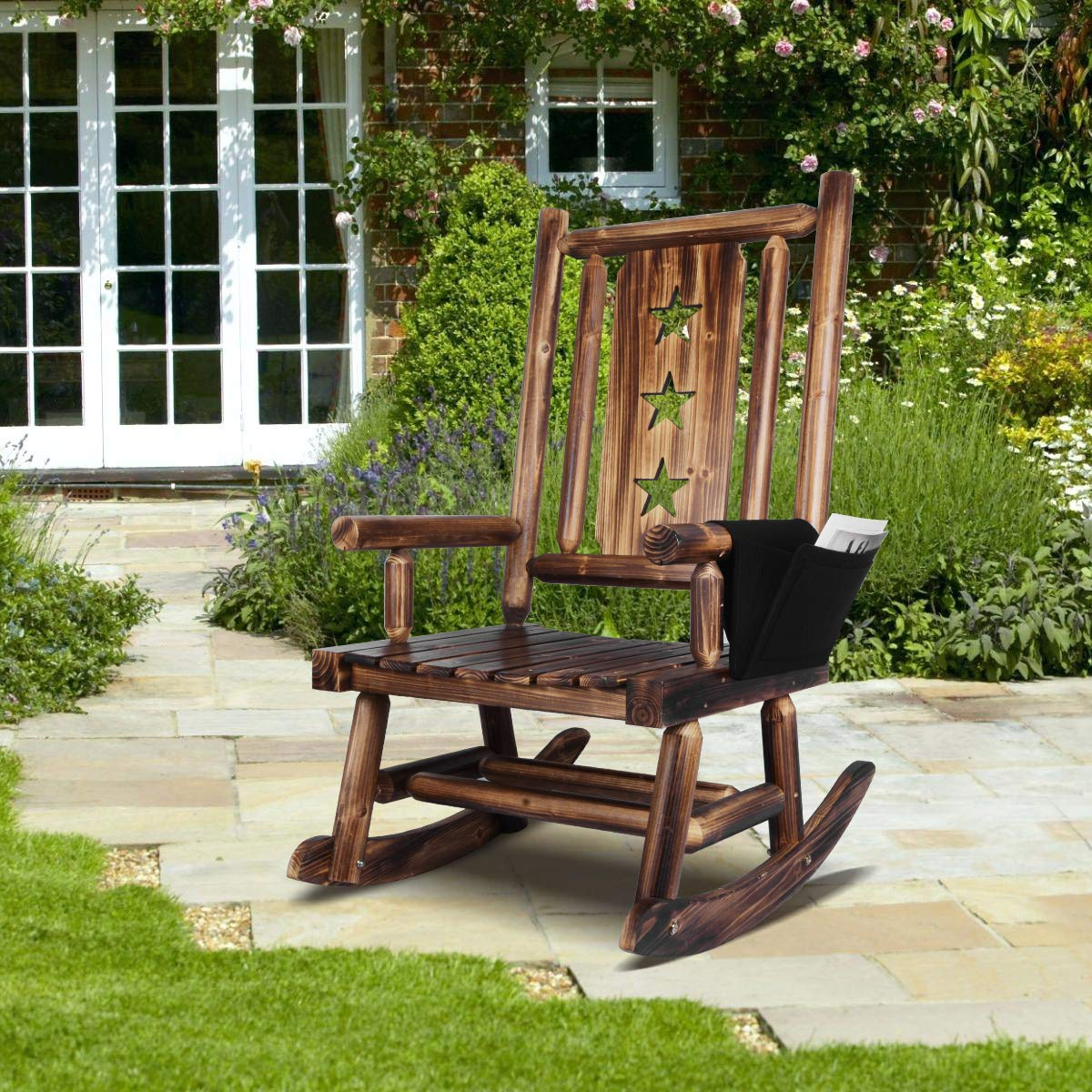 Wooden Rocking Chair for Porch - Outdoor Rustic Rocker Chair with Armrest Detachable Storage Bag and Star by XCSOURCE