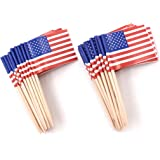 bfd404927d5 Zicome 200 Pack US Flag Picks Patriotic Flag Food Toothpicks Party  Accessory Party Favors