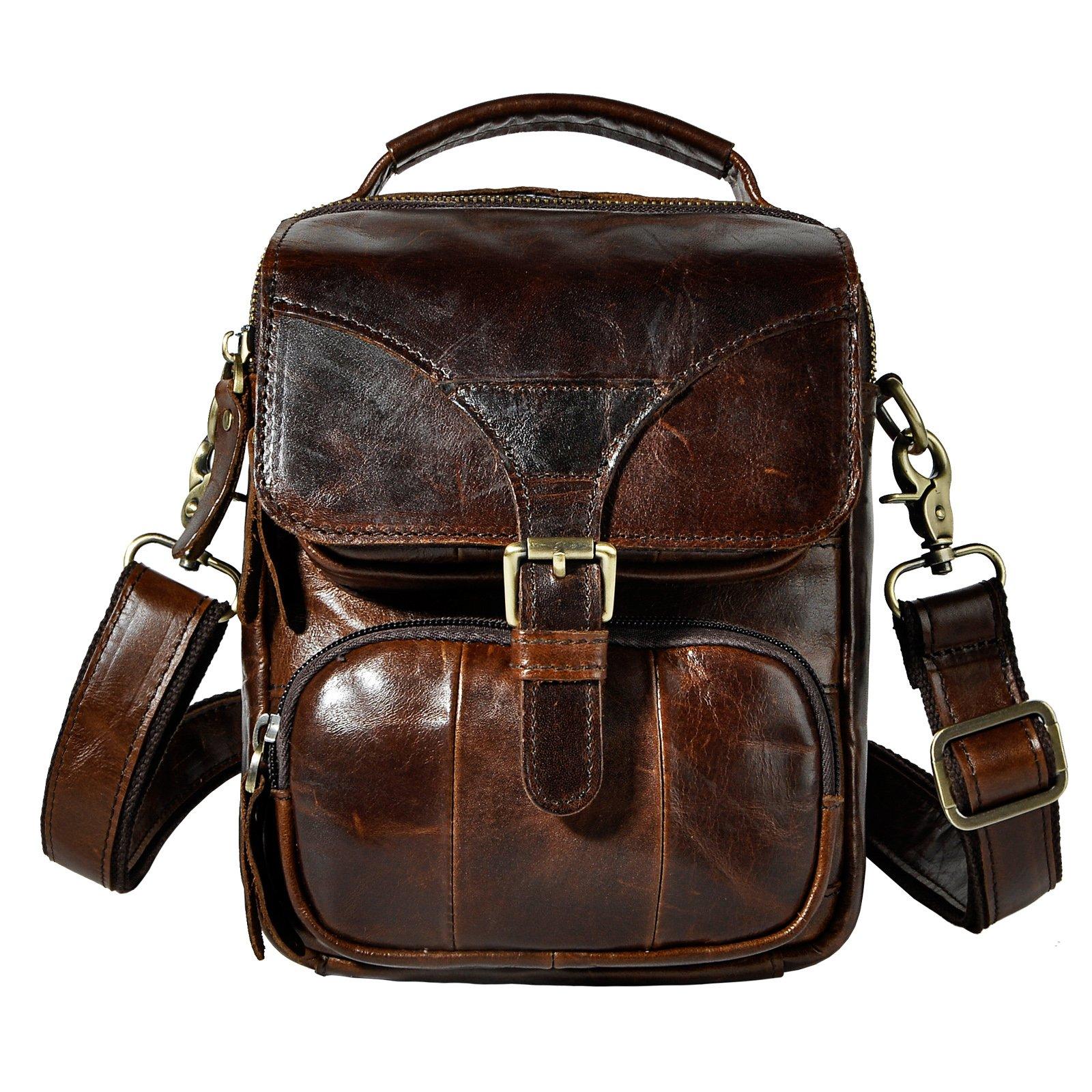 Le'aokuu Men Real Leather Sling Messenger Bag Waist Belt Pack Hip Bum Bag Tote 2074 (coffee)