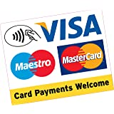 Card Contactless Payments Welcome Large Square 150x120mm Vinyl Sticker