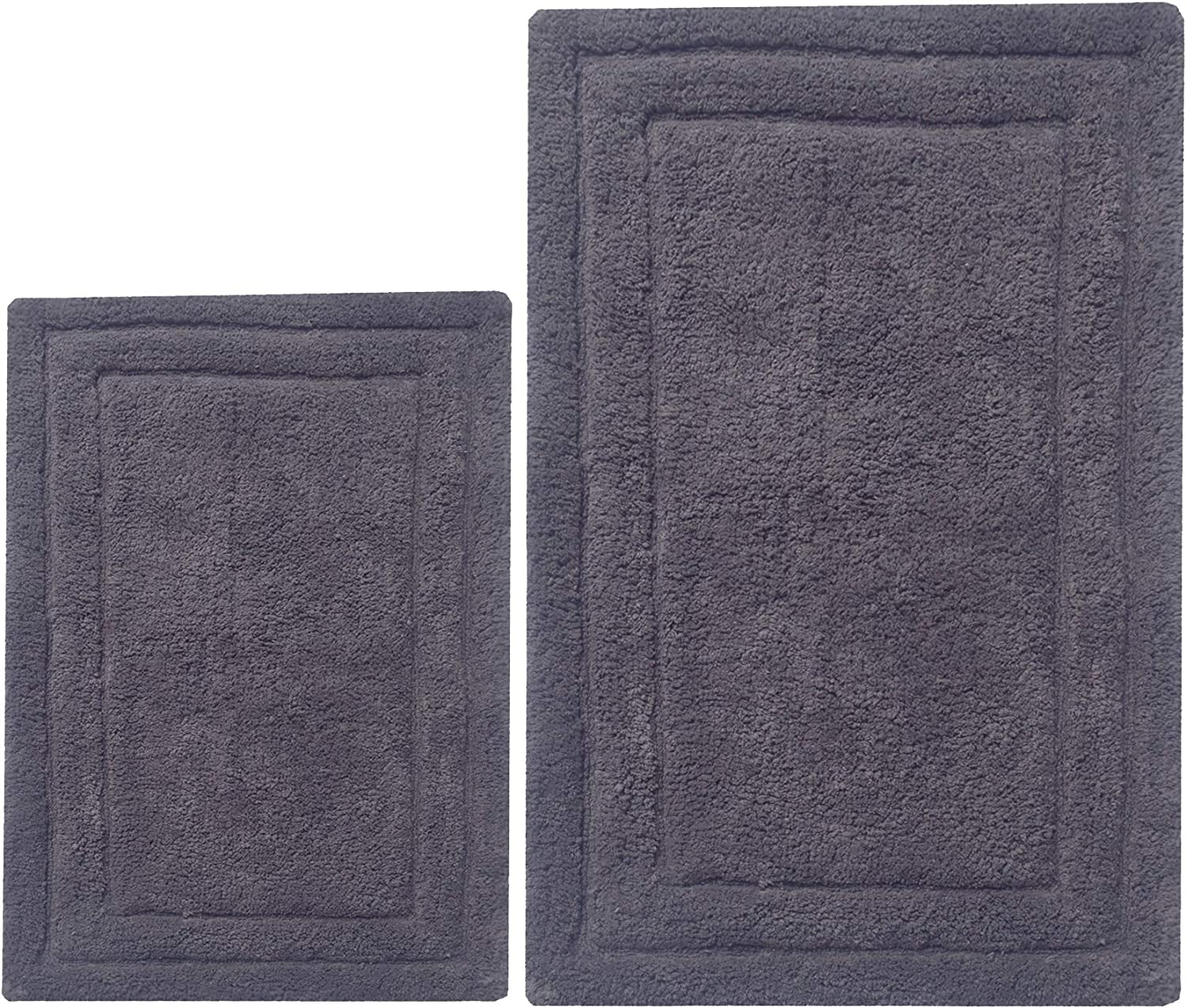 Chardin Home - 100% Cotton two Piece Classicc Bath Rug Set, (21''x34'' & 17''x24'') with anti-skid spray latex back, Platinum Gray