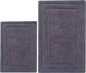 Chardin Home - 100% Cotton two Piece Classicc Bath Rug Set, (21''x34'' & 17''x24'') with anti-skid spray latex back, Platinum Gray