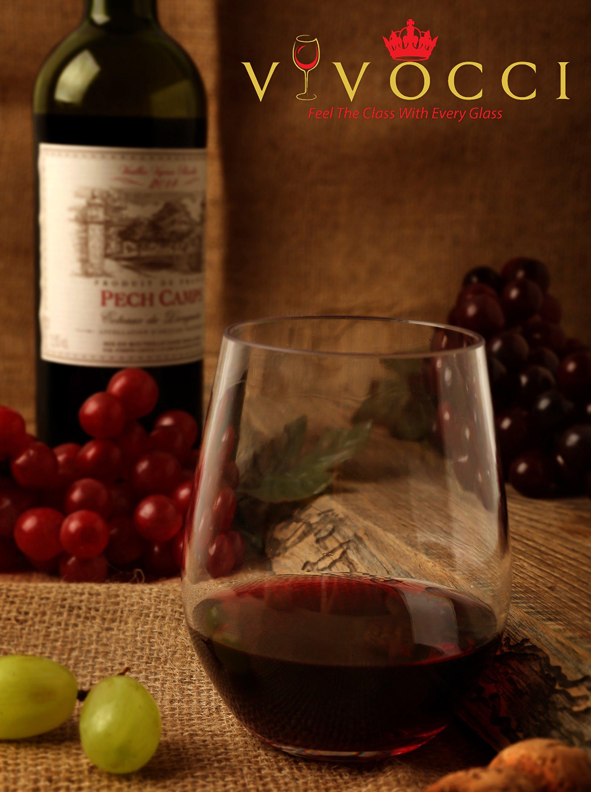 Vivocci Unbreakable Elegant Plastic Stemless Wine Glasses 20 oz | 100% Tritan Heavy Base | Shatterproof Glassware | Ideal For Cocktails & Scotch | Perfect For Homes & Bars | Dishwasher Safe | Set of 2 by Vivocci (Image #7)