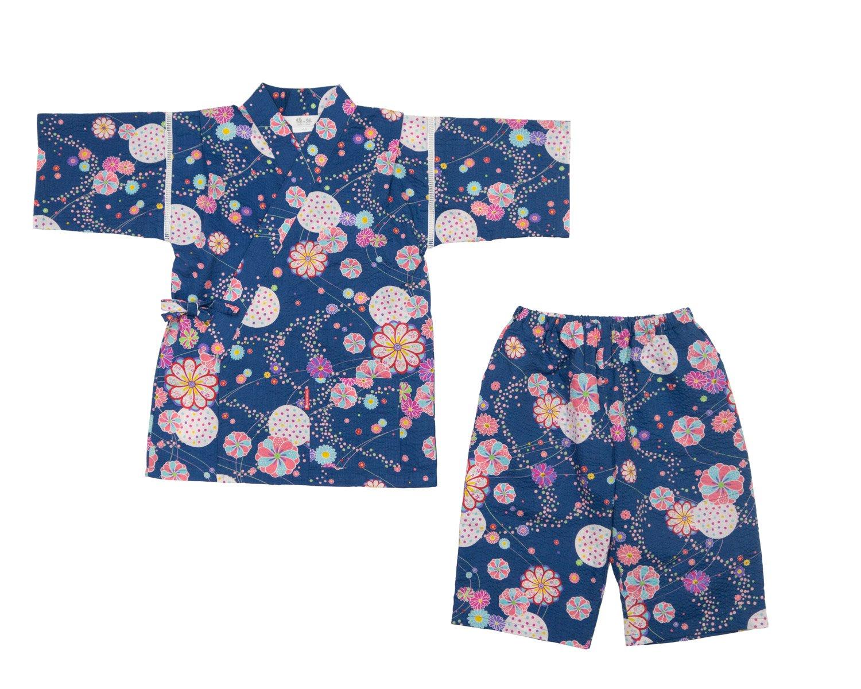 WATANOSATO Ripple Jinbei Made in Kurume Japan Baby-Girls Size Kimono-Style (150, Navy Blue) by WATANOSATO