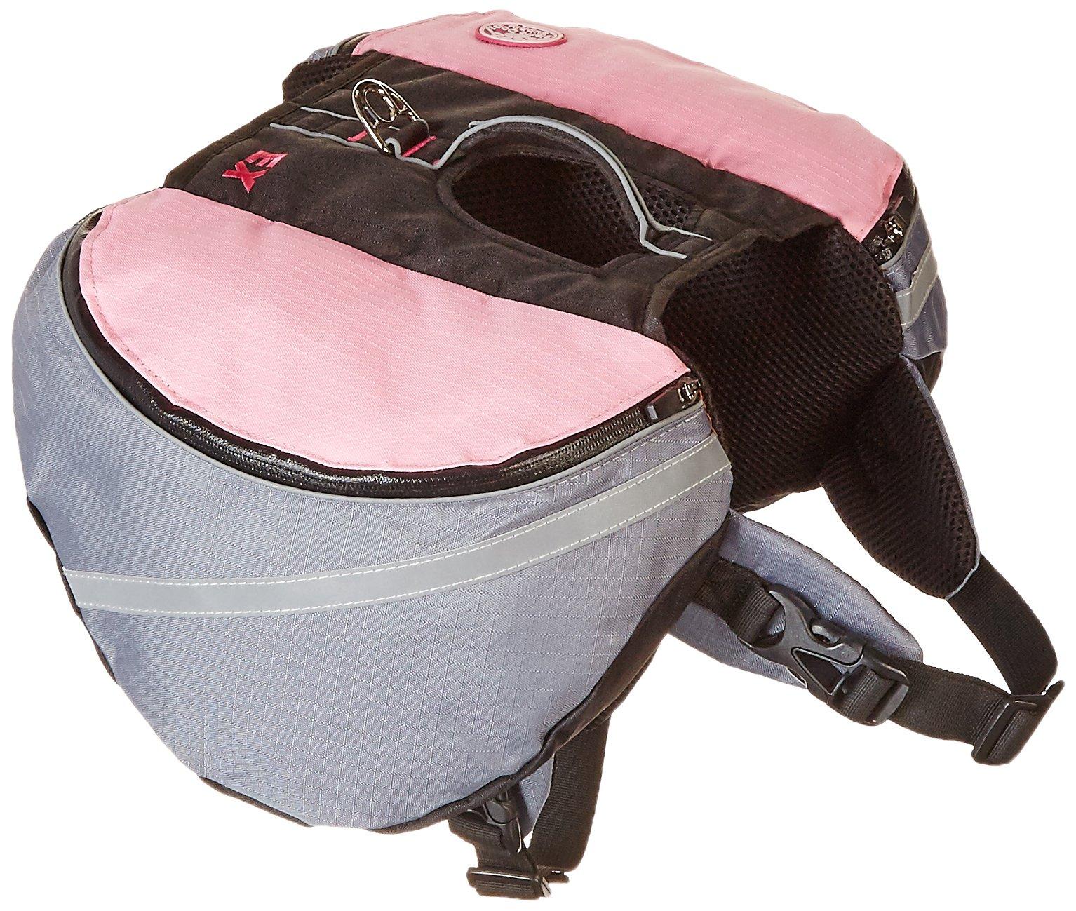 Doggles Dog Extreme Backpack, Gray/Pink, Medium