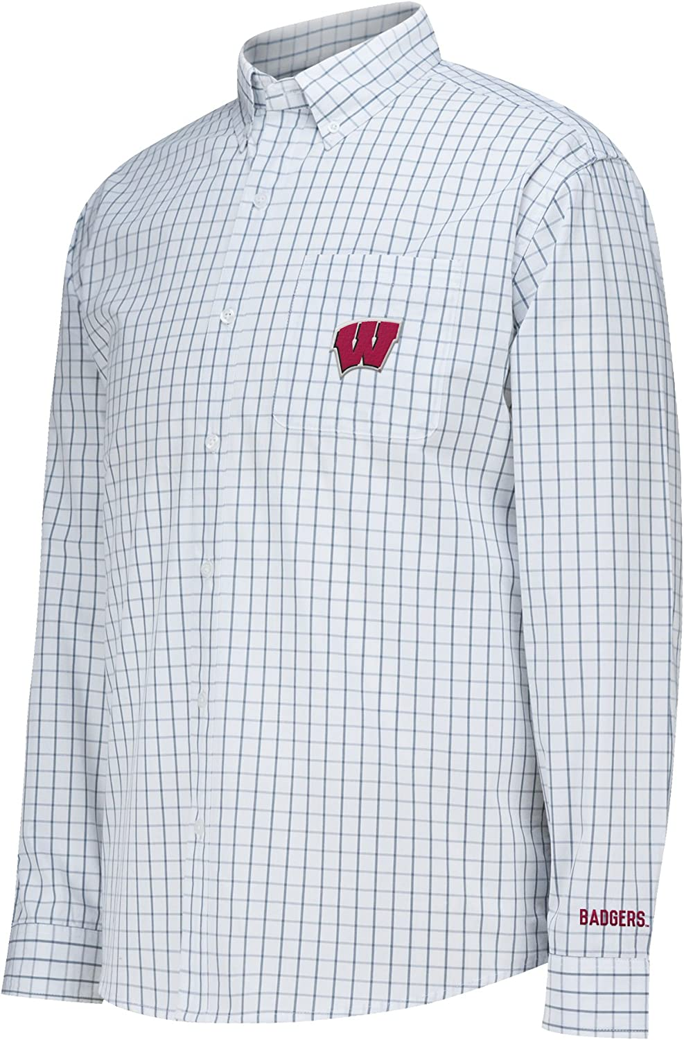 White J America NCAA Wisconsin Badgers Mens No Excuses Woven Shirt X-Large