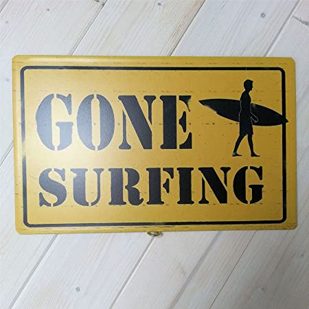 Surfers Wall Art metal tin Hanging Plaque/Sign - GONE SURFING ...