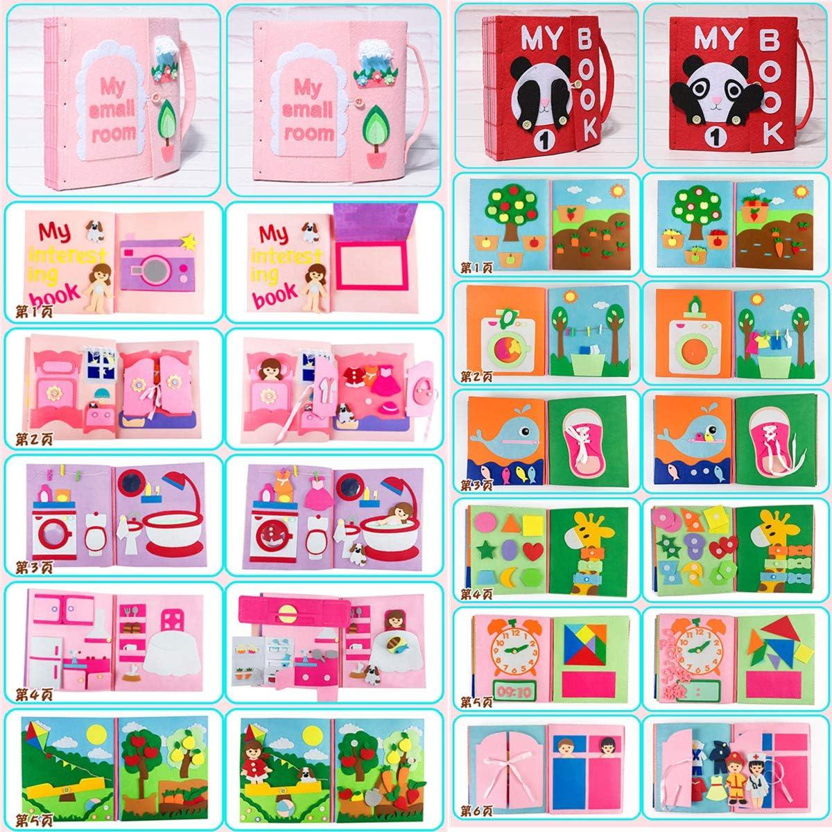 Xiangrun Mon Petit Livre Dactivit/és,Livre Bebe Eveil,Jouet Educatif Livre D/éveil Sensitive Livre en Tissu Fait Main 3D