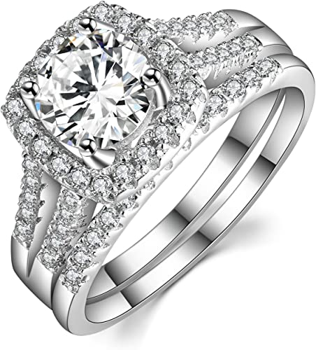 Sterling Silver Custom Engagement Ring Wedding Band Bridal Set CZ Sizes 5-10