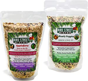 Bird Street Bistro Hearty Veggies & AppleBerry Parrot Food Cooks in just 3 or 15 Minutes - Organic and Non-GMO Ingredients, No Fillers, Sugars, Sulfites (42 oz. Combined)