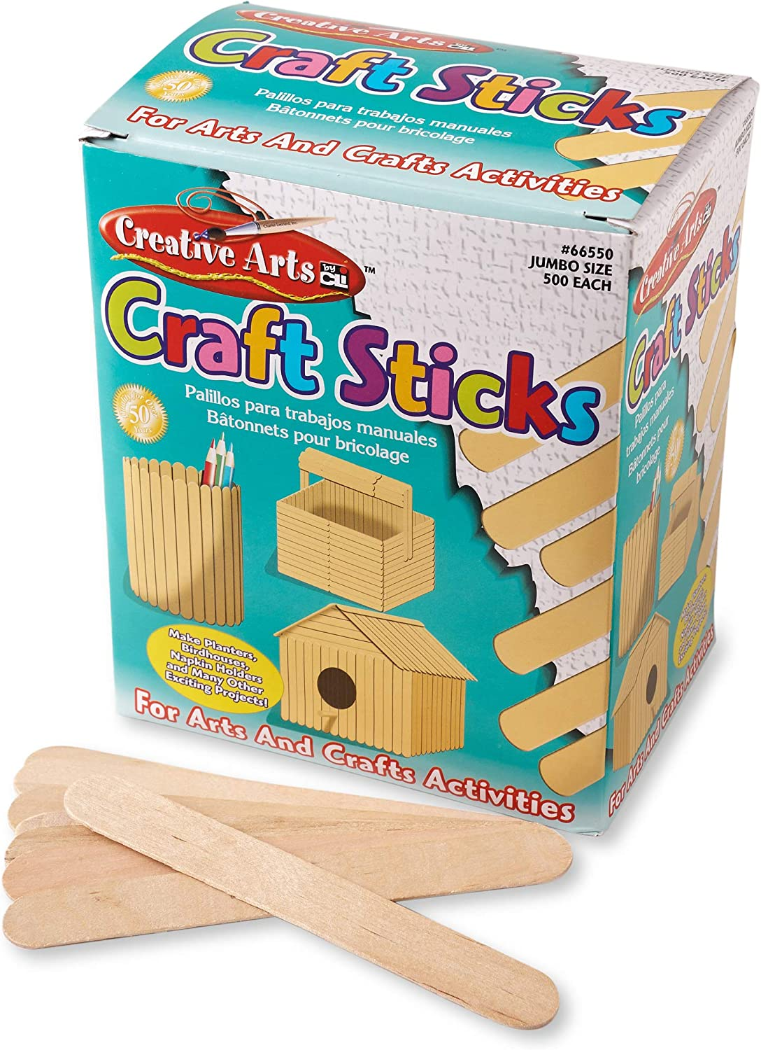 6 Count of 75 Pieces Charles Leonard Craft Sticks Jumbo Ages 3+