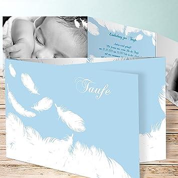 Einladungen Taufe Selber Machen Feder 20 Karten C6 Doppelklappkarte 148x105 Inkl Weiße Umschläge Blau