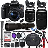 Canon EOS Rebel T6i DSLR Camera with 18-55mm STM Lens Bundle + Canon EF 75-300mm f/4-5.6 III Lens and 500mm Preset Lens + 32GB Memory + Filters + Monopod + Spider Tripod + Professional Bundle
