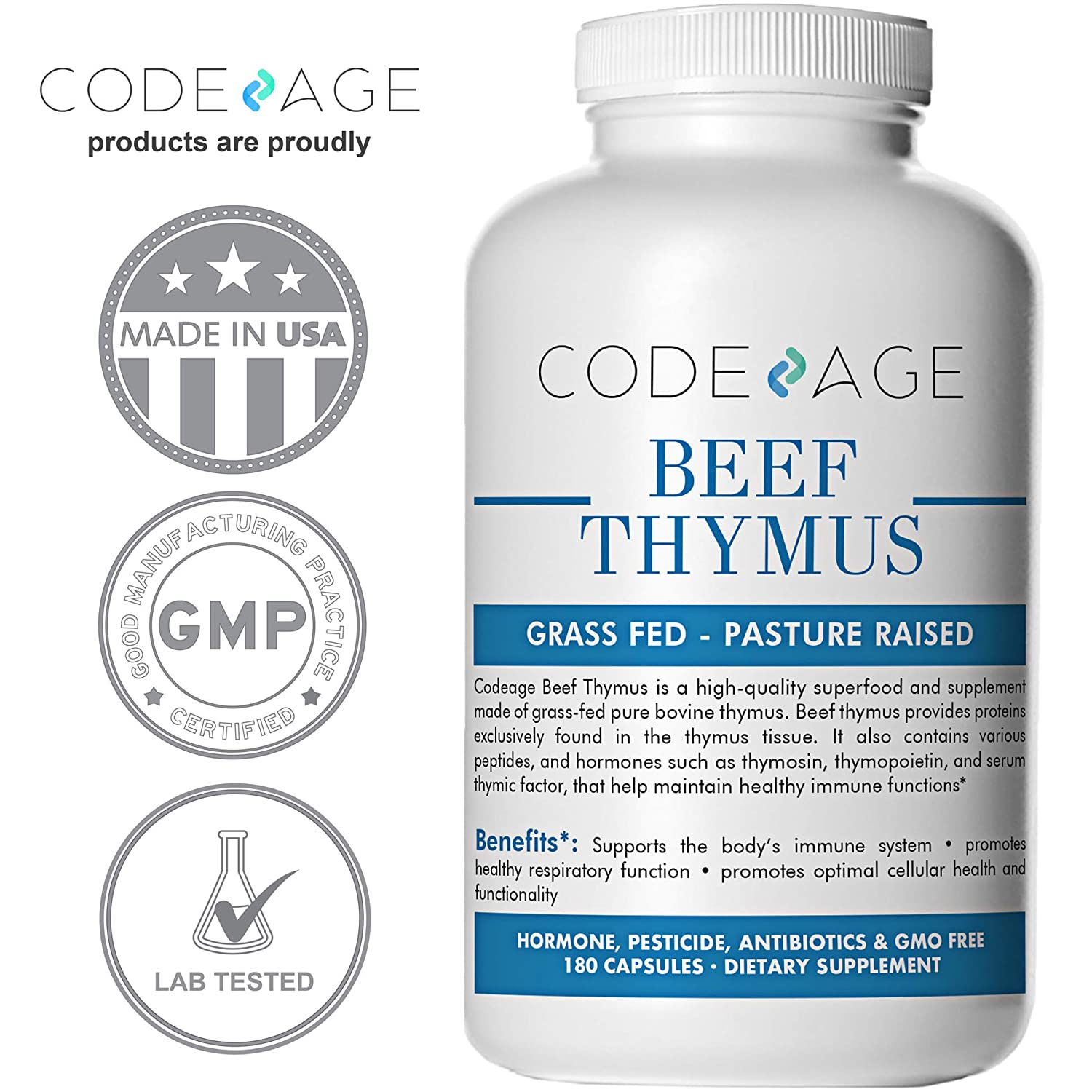 Amazon.com: Codeage Grass Fed Thymus (Glandular), 180 Count — Supports Immune & Allergy Health, 3000mg per Servings, 100% Pasture Raised in Argentina: ...