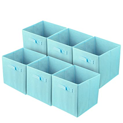 ShellKingdom Foldable Cloth Storage Cube Basket Bins Organizer Containers  Drawers (6, Light Blue)