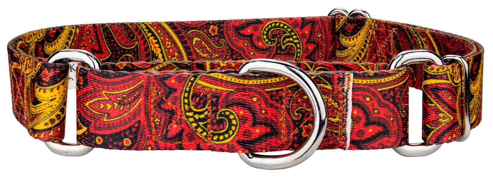 Country Brook Design | Fire Paisley Featherweight Martingale Dog Collar-Extra Small