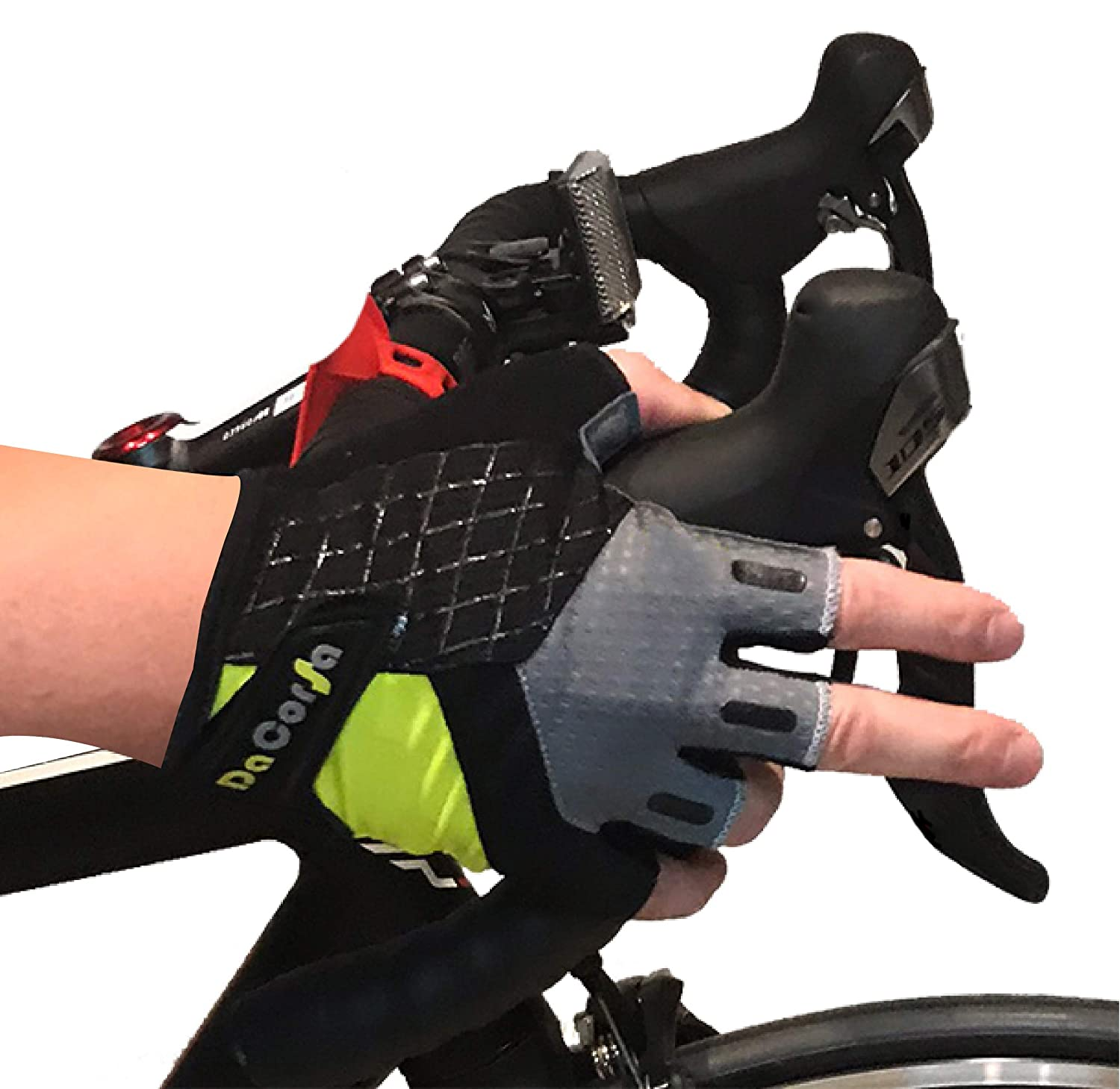 Sport Gloves High Performance Shock Absorption Da Corsa Cycling Gloves Grip and Control Half Finger Glove Design with Easy Off Loops Bike Gloves for Men and Women