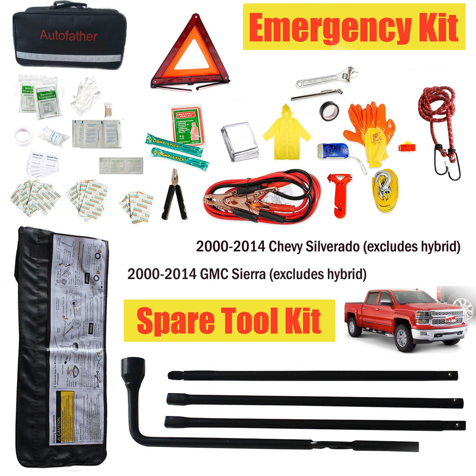 Spare Tire Repair Tools Lug Wrench Kit + Emergency Kit First Aid For 2000-14 GMC Sierra Chevy Silverado
