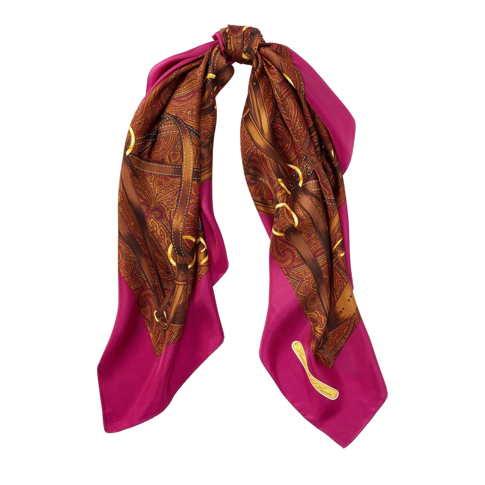 Lauren Ralph Lauren Women`s Bridle Print Silk Twill Scarf (Fuchsia (653), One Size)
