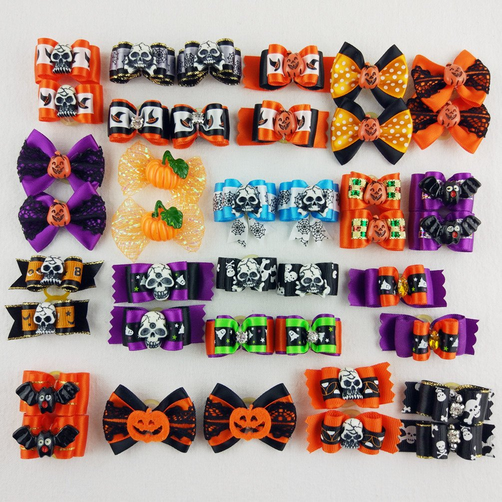 Hixixi 24pcs/12pairs Pet Dog Hair Bows Halloween Designs Puppy Grooming Bows Hair Accessories Rubber Bands