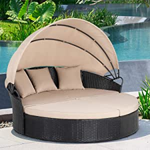 JY QAQA Patio Furniture Outdoor Lawn Backyard Poolside Garden Round Daybed with Retractable Canopy Wicker Rattan, Seating Separates Cushioned Seats