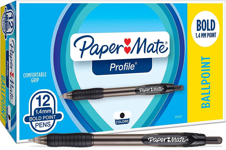 Paper Mate Profile Retractable Ballpoint Pens 1.4mm 12//Pkg-Assorted