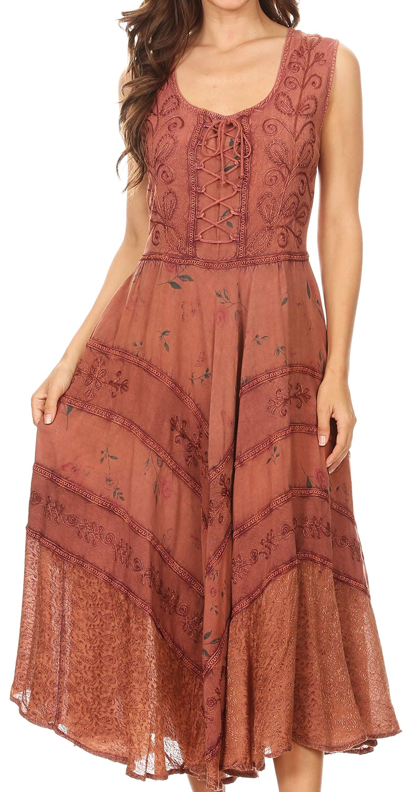 Sakkas 22311 Garden Goddess Corset Style Dress - Rose - L/XL by Sakkas