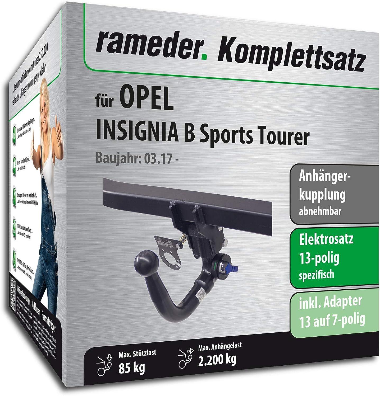 Anh/ängerkupplung abnehmbar 13pol Elektrik f/ür OPEL Insignia B Sports Tourer Rameder Komplettsatz 146907-37807-1