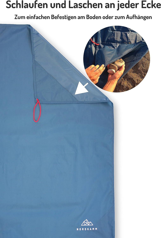 Ground Sheet Picknickdecke wasserdicht Medium Sitzunterlage Camping ideal als Pocket Blanket Stranddecke Campingdecke Outdoor NORDKAMM Ultraleicht u Taschendecke kompakt f/ür Strand
