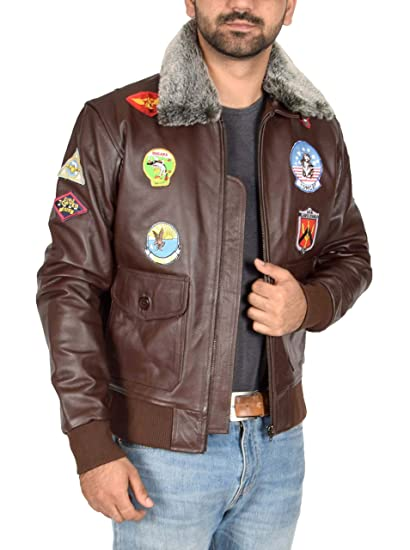 Mens Leather Air Force Pilot Top Gun Style Bomber Flying Jacket Hank Brown (Small)