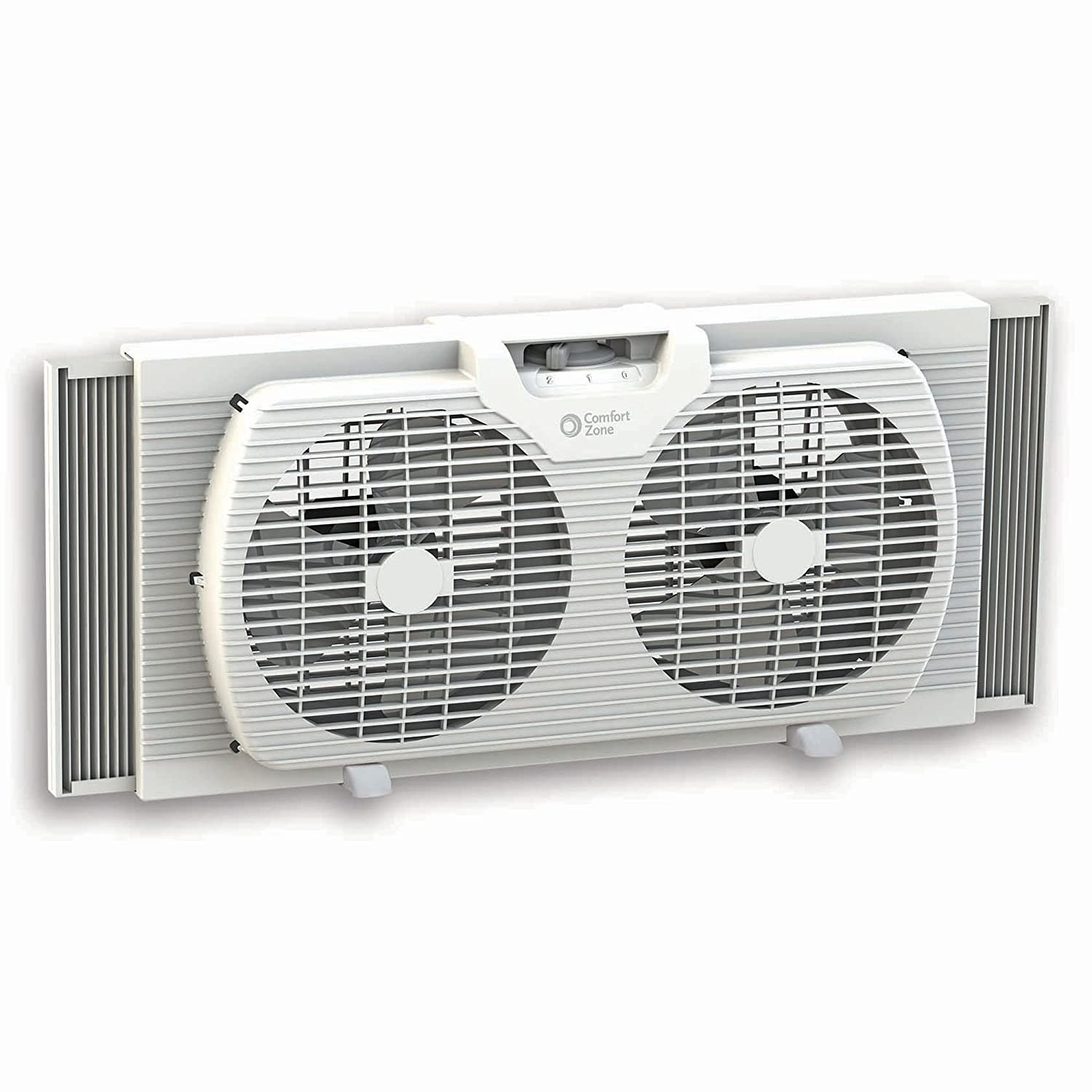 "Comfort Zone 9"" Portable Twin Window Fan White"
