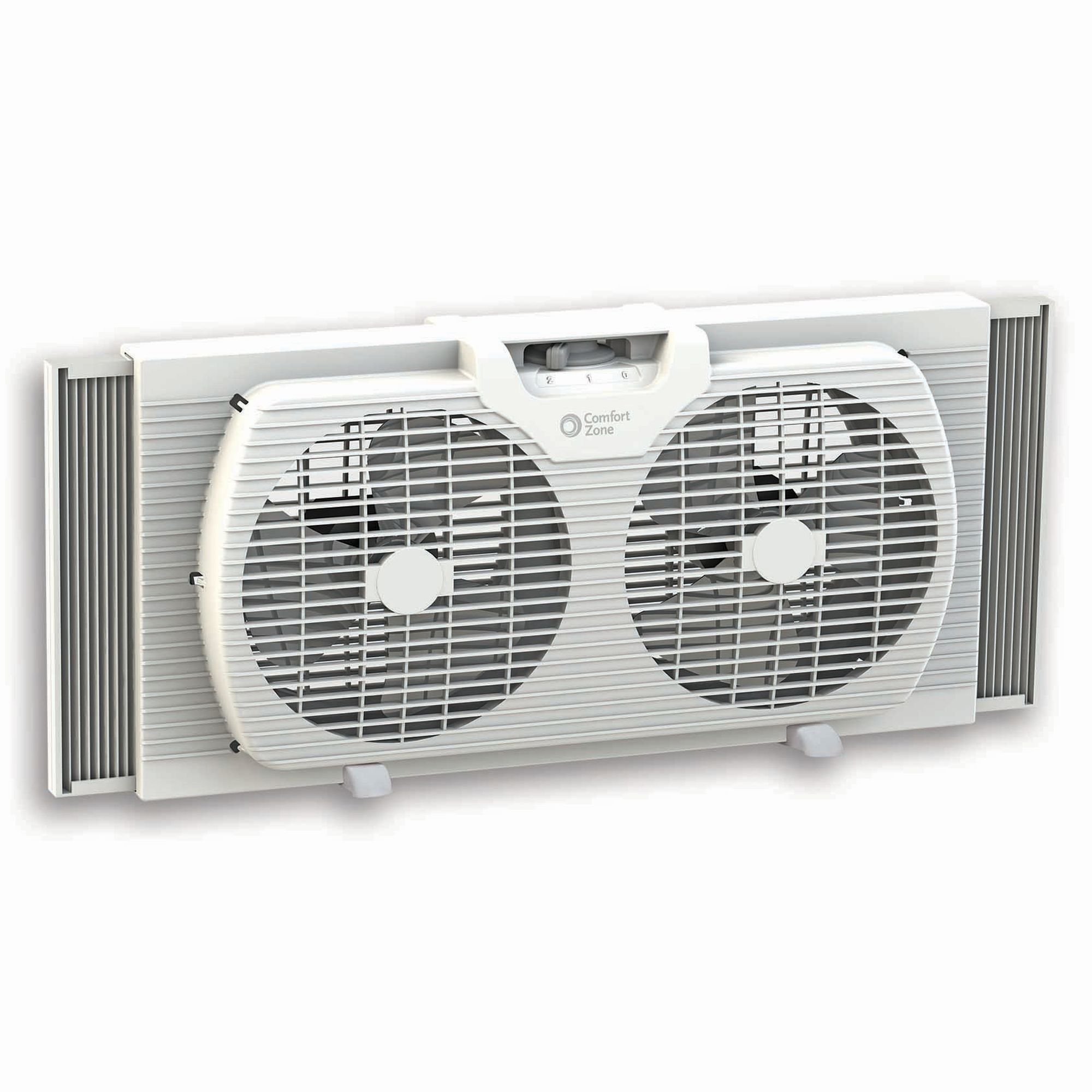 Comfort Zone CZ319WT 9-inch Twin Window Fan with Reversible Airflow Control, Auto-Locking Expanders and 2-Speed Fan Switch by CCC COMFORT ZONE