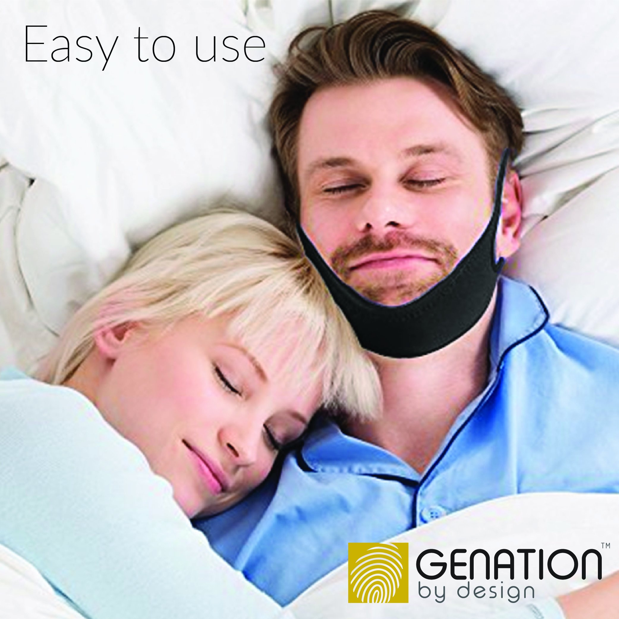 Genation Anti Snoring Chin Strap – Adjustable Sleep Aid Device for Men, Women and Kids – The Ultimate Snoring Solution – Safe, Simple and Effective for a Peaceful Night's Sleep