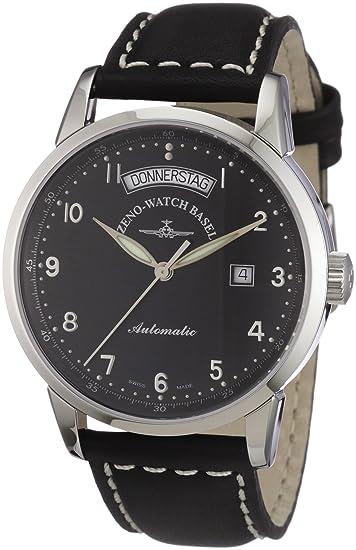 Zeno Watch Basel Magellano 6069DD-c1 - Reloj de caballero automático, correa de piel color negro: Amazon.es: Relojes