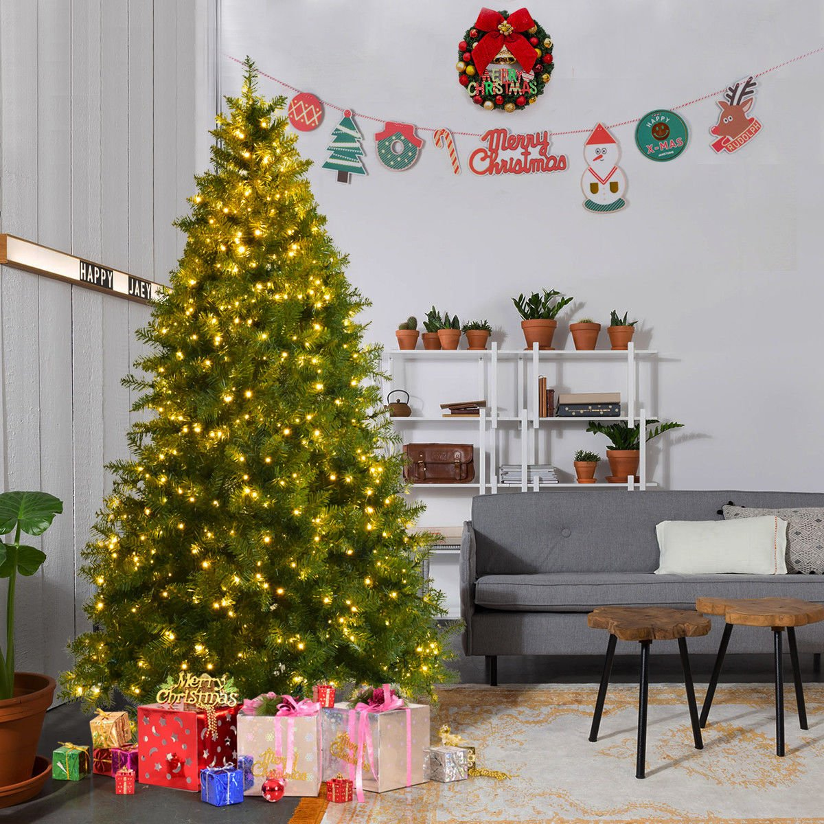 Goplus Pre-Lit Christmas Tree Artificial PVC Spruce Hinged w/ 700 LED Lights & Solid Metal Legs (7 Ft)