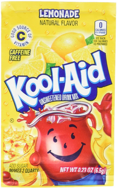 Kool-Aid Soft Drink Mix - Lemonade Unsweetened, Caffeine Free, 0.23 oz/envelope (Pack of 12)