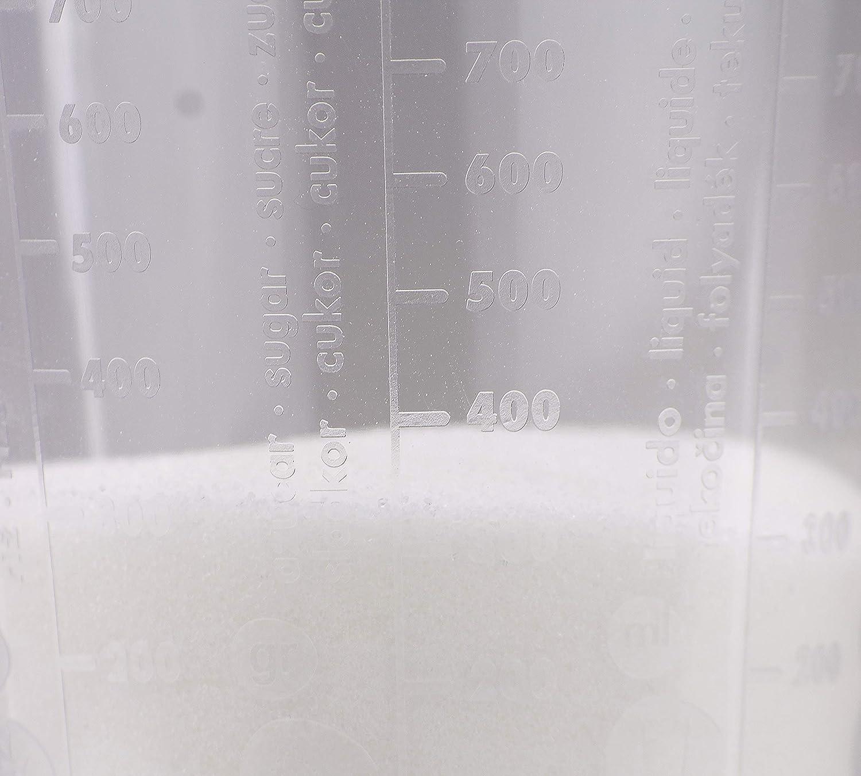 Apto para lavavajillas Agua Bambelaa az/úcar Jarra medidora de 1 litro de pl/ástico Transparente con Diferentes calibres de harina