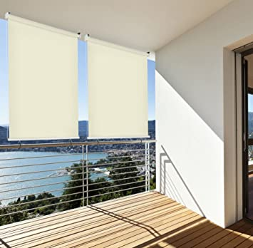 amazon de sonnenschutz rollo aussenrollo sichtschutz balkon creme